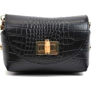 Černá kožená kabelka AnnaLuchini Hannah