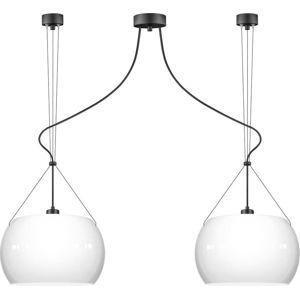 Bílé lesklé závěsné svítidlo se 2 svítidly a černým kabelem Sotto Luce MYOO Elementary