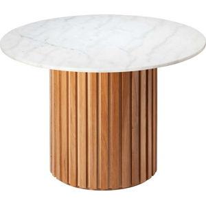 Bílý mramorový jídelní stůl s podnožím z dubového dřeva RGE Moon, ⌀ 105 cm