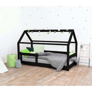 Černá dětská postel s bočnicí ze smrkového dřeva Benlemi Tery, 120 x 200 cm