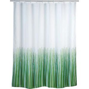 Zeleno-bílý sprchový závěs Wenko Nature, 180 x 200 cm