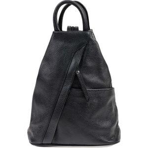 Černý kožený batoh Carla Ferreri