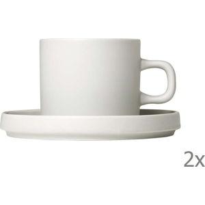 Sada 2 bílých keramických hrnků na kávu s podšálky Blomus Pilar,200ml