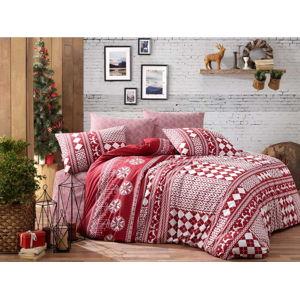 Povlečení s prostěradlem na dvoulůžko z ranforce bavlny Nazenin Home Deer Claret Red, 200 x 220 cm