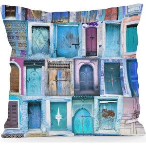 Povlak na polštář z mikrovlákna Really Nice Things Blue Doors, 45 x 45 cm