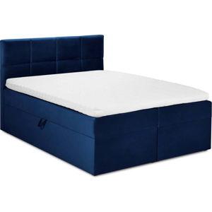 Modrá sametová dvoulůžková postel Mazzini Beds Mimicry,180x 200cm