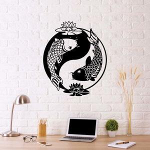Černá kovová nástěnná dekorace Fish Yin Yang, 70 x 50 cm