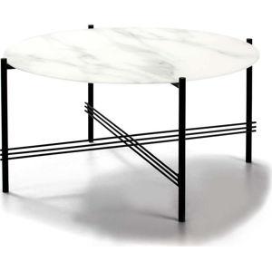 Bílo-černý konferenční stolek se skleněnou deskou v mramorovém dekoru Marckeric,ø84cm