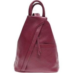 Vínově červená kožená kabelka se 3 vnitřními kapsami Carla Ferreri