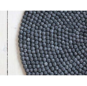 Antracitový kuličkový vlněný koberec Wooldot Ball Rugs, ⌀ 200 cm