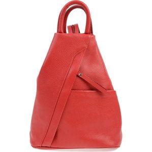 Červený kožený batoh Carla Ferreri Emilia