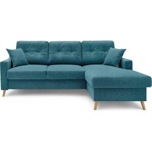 Tyrkysově modrá rozkládací rohová pohovka s úložným prostorem Bobochic Paris Sweden, pravý roh, 224 cm