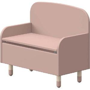Růžová úložná lavice s opěrkou Flexa Play
