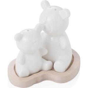 Bílá porcelánová slánka a pepřenka na bambusovém tácku Brandani Bear