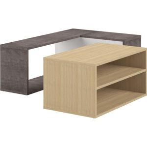 Dvojdílný konferenční stolek v dekoru dubového dřeva a betonu TemaHome Angle