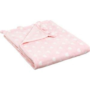 Růžová deka s motivem srdíček Unimasa Manta, 130 x 160 cm