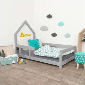 Šedá dětská postel domeček s levou bočnicí Benlemi Poppi, 80 x 160 cm