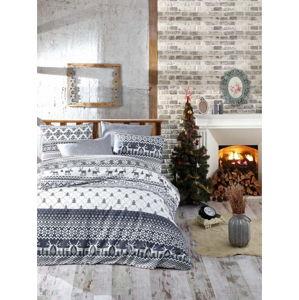 Vánoční bavlněné povlečení na dvojlůžko s prostěradlem Nazenin Home Alesia, 200x220cm