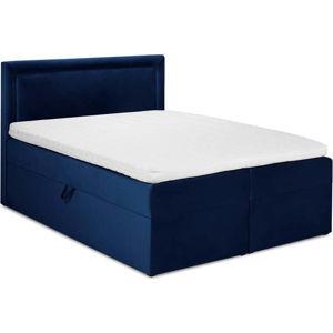 Modrá sametová dvoulůžková postel Mazzini Beds Yucca,200x200cm