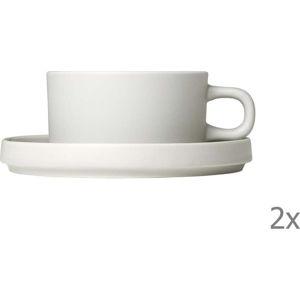 Sada 2 bílých keramických hrnků na kávu s podšálky Blomus Pilar,170ml