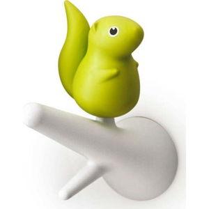Sada 2 zeleno-bílých nástěnných háčků Qualy&CO Squirrel