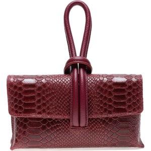 Vínově červená kožená kabelka do ruky Renata Corsi