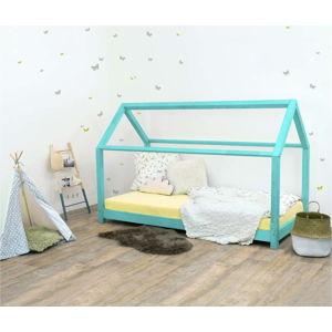 Tyrkysová dětská postel bez bočnic ze smrkového dřeva Benlemi Tery, 90 x 200 cm