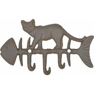 Litinový nástěnný háček s motivem ryby a kočky Esschert Design