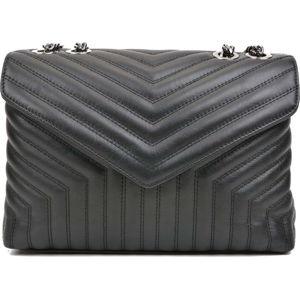 Černá kožená taška přes rameno se 3 kapsami Luisa Vannini