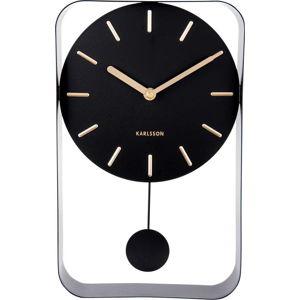 Černé nástěnné hodiny s kyvadlem Karlsson Charm, výška 32,5 cm
