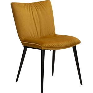Žlutá jídelní židle se sametovým povrchem DAN-FORM Denmark Join