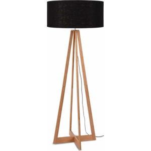 Stojací lampa s černým stínidlem a konstrukcí z bambusu Good&Mojo Everest