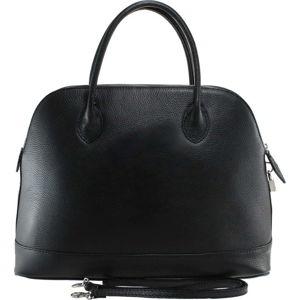 Černá kožená kabelka Chicca Borse Griot