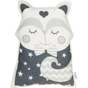 Šedý dětský polštářek s příměsí bavlny Apolena Pillow Toy Smart Cat, 23 x 33 cm