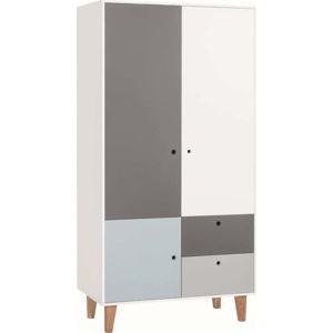 Bílo-šedá dvoudveřová šatní skříň s modrým detailem Vox Concept