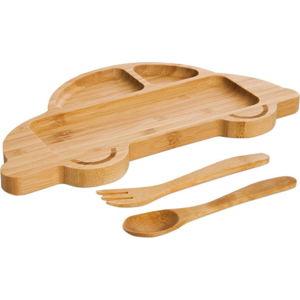 Set dětského talíře ve tvaru auta a příborů z bambusového dřeva Bambum
