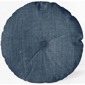 Modrý polštář Linen Couture Cojin Redondo Blue, ⌀ 45 cm
