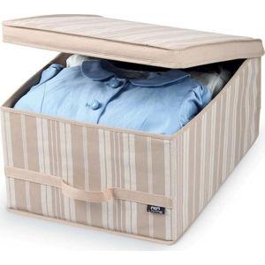 Béžový úložný box Domopak Stripes, délka50cm