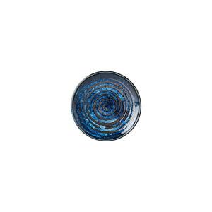 Modrý keramický talíř MIJ Copper Swirl, ø17 cm