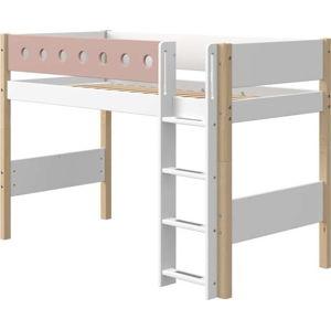 Růžovo-bílá dětská postel s nohami z březového dřeva Flexa White, výška 143 cm