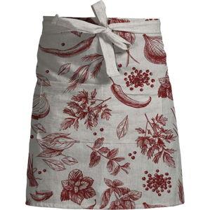 Květovaná zástěra s příměsí lnu Linen Couture Delantal Red Peppers