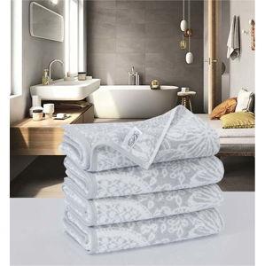 Sada 4 bavlněných ručníků Descanso Preyo Gris, 50 x 100 cm