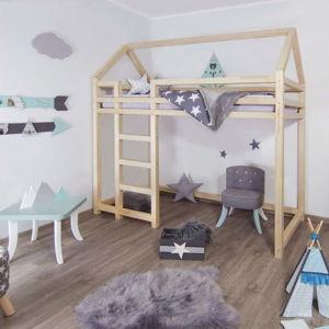 Přírodní vyvýšená postel ze smrkového dřeva s žebříkem vlevo BenlemiNesty, 120x200cm