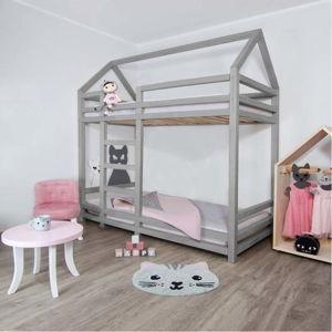 Šedá patrová postel ze smrkového dřeva s žebříkem vlevo BenlemiTwiny, 120x200cm