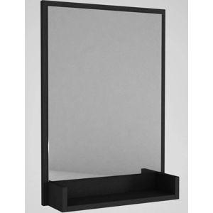 Nástěnné zrcadlo včerném rámu spoličkou Hanna