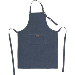 Tmavě modrá kuchyňská zástěra s příměsí lnu Tiseco Home Studio