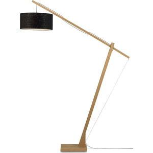 Stojací lampa s černým stínidlem a konstrukcí z bambusu Good&Mojo Montblanc