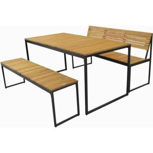 Zahradní set jídelního stolu a 2 lavic z akáciového dřeva s kovovou konstrukcí Ezeis Brick