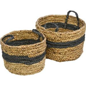 Sada 2 úložných košíků z vodního hyacintu HSM collection Natural Black