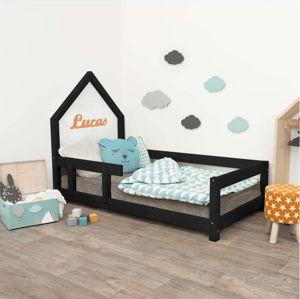 Černá dětská postel domeček s levou bočnicí Benlemi Poppi, 80 x 160 cm